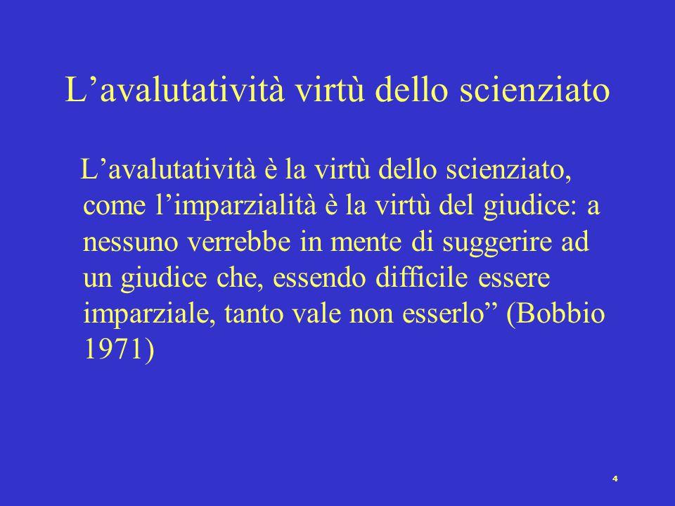 4 L'avalutatività virtù dello scienziato L'avalutatività è la virtù dello scienziato, come l'imparzialità è la virtù del giudice: a nessuno verrebbe in mente di suggerire ad un giudice che, essendo difficile essere imparziale, tanto vale non esserlo (Bobbio 1971)