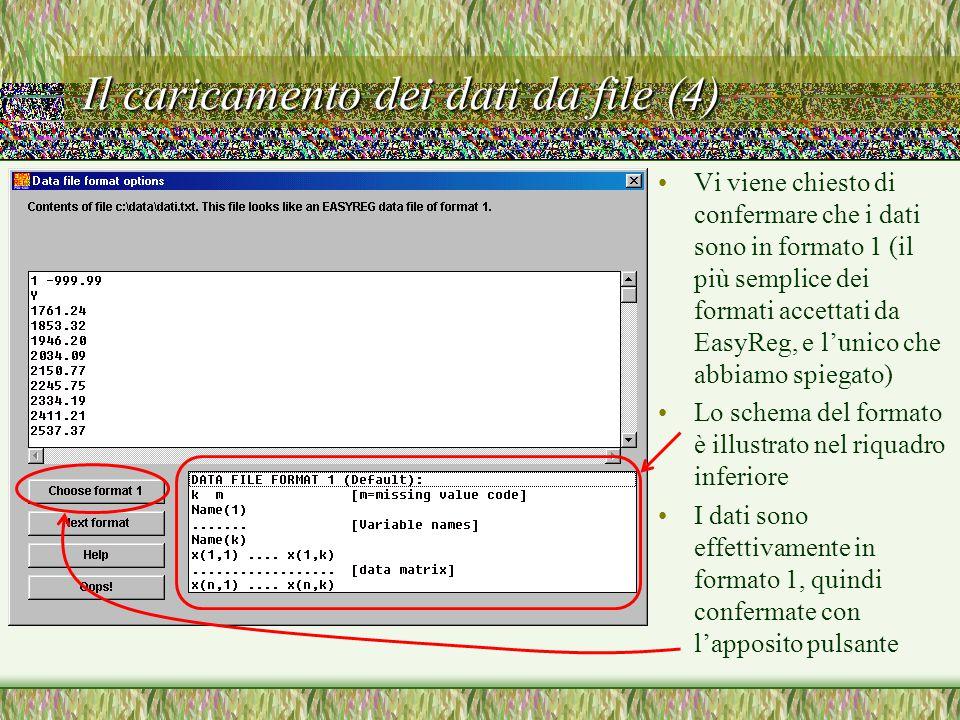 Il caricamento dei dati da file (4) Vi viene chiesto di confermare che i dati sono in formato 1 (il più semplice dei formati accettati da EasyReg, e l'unico che abbiamo spiegato) Lo schema del formato è illustrato nel riquadro inferiore I dati sono effettivamente in formato 1, quindi confermate con l'apposito pulsante