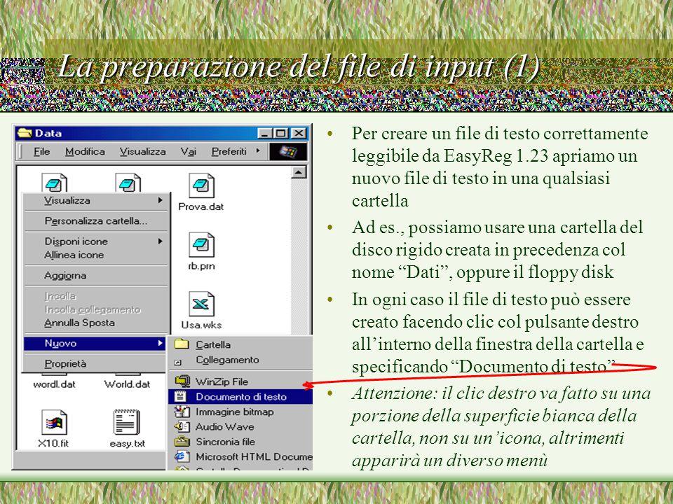 La preparazione del file di input (1) Per creare un file di testo correttamente leggibile da EasyReg 1.23 apriamo un nuovo file di testo in una qualsiasi cartella Ad es., possiamo usare una cartella del disco rigido creata in precedenza col nome Dati , oppure il floppy disk In ogni caso il file di testo può essere creato facendo clic col pulsante destro all'interno della finestra della cartella e specificando Documento di testo Attenzione: il clic destro va fatto su una porzione della superficie bianca della cartella, non su un'icona, altrimenti apparirà un diverso menù