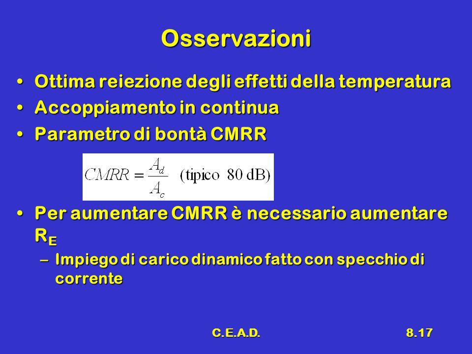 C.E.A.D.8.17 Osservazioni Ottima reiezione degli effetti della temperaturaOttima reiezione degli effetti della temperatura Accoppiamento in continuaAccoppiamento in continua Parametro di bontà CMRRParametro di bontà CMRR Per aumentare CMRR è necessario aumentare R EPer aumentare CMRR è necessario aumentare R E –Impiego di carico dinamico fatto con specchio di corrente