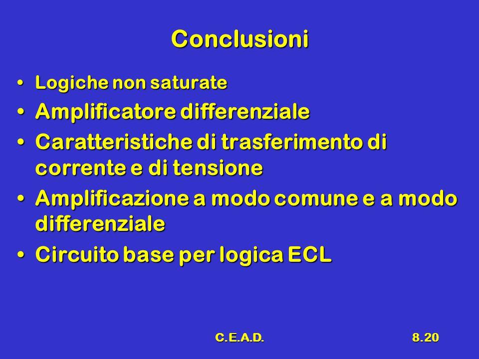 C.E.A.D.8.20 Conclusioni Logiche non saturateLogiche non saturate Amplificatore differenzialeAmplificatore differenziale Caratteristiche di trasferimento di corrente e di tensioneCaratteristiche di trasferimento di corrente e di tensione Amplificazione a modo comune e a modo differenzialeAmplificazione a modo comune e a modo differenziale Circuito base per logica ECLCircuito base per logica ECL