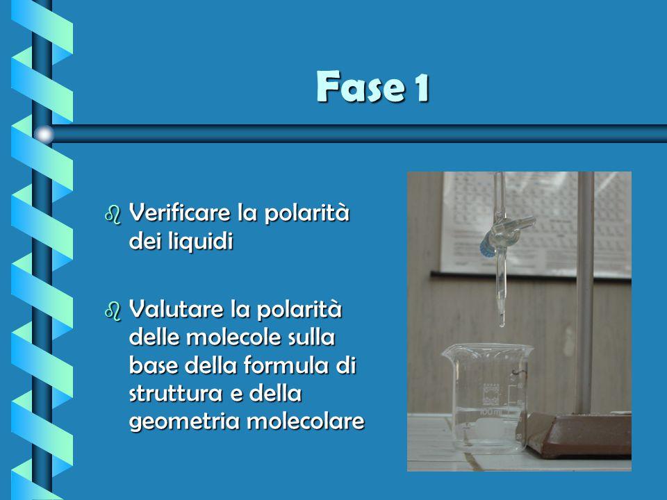 Fase 1 b Verificare la polarità dei liquidi b Valutare la polarità delle molecole sulla base della formula di struttura e della geometria molecolare
