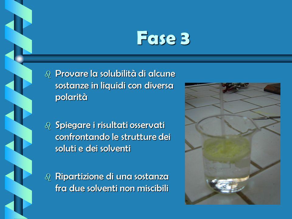Fase 3 b Provare la solubilità di alcune sostanze in liquidi con diversa polarità b Spiegare i risultati osservati confrontando le strutture dei solut