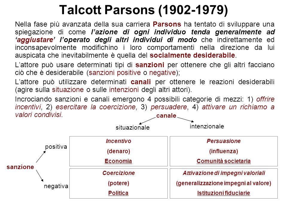 Talcott Parsons (1902-1979) Nella fase più avanzata della sua carriera Parsons ha tentato di sviluppare una spiegazione di come l'azione di ogni indiv