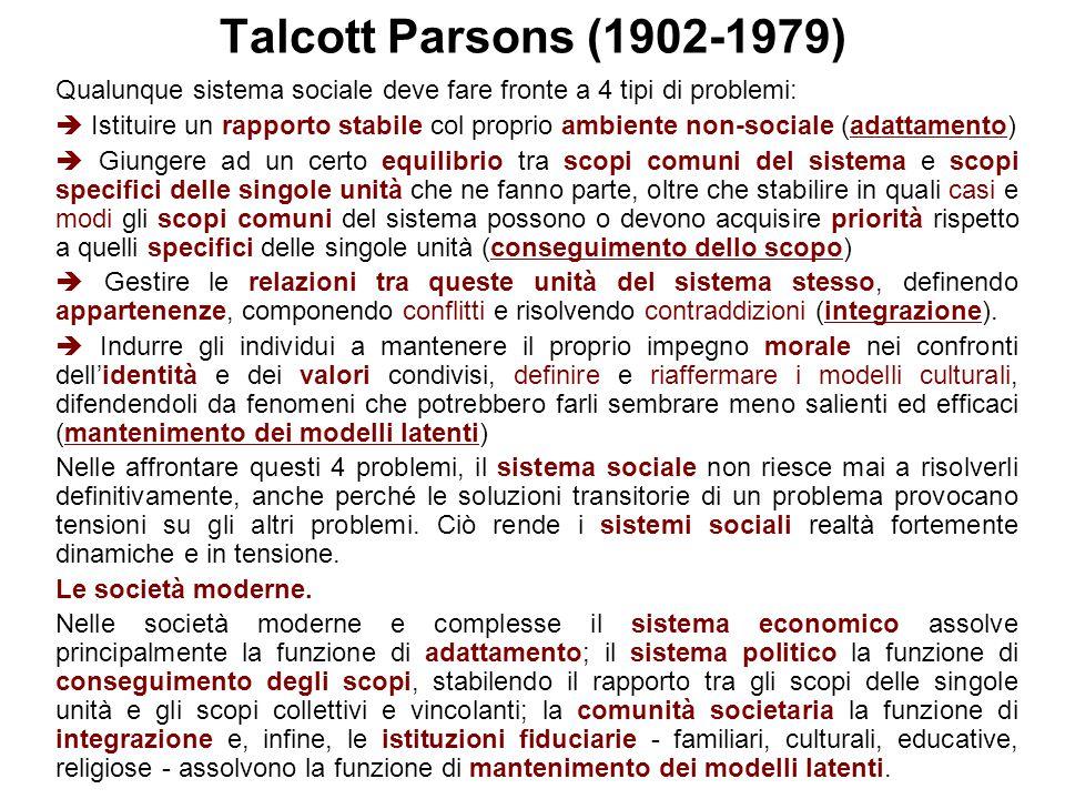 Talcott Parsons (1902-1979) Qualunque sistema sociale deve fare fronte a 4 tipi di problemi:  Istituire un rapporto stabile col proprio ambiente non-
