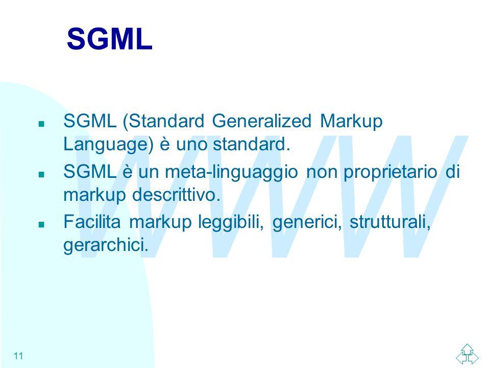 WWW 11 SGML n SGML (Standard Generalized Markup Language) è uno standard. n SGML è un meta-linguaggio non proprietario di markup descrittivo. n Facili