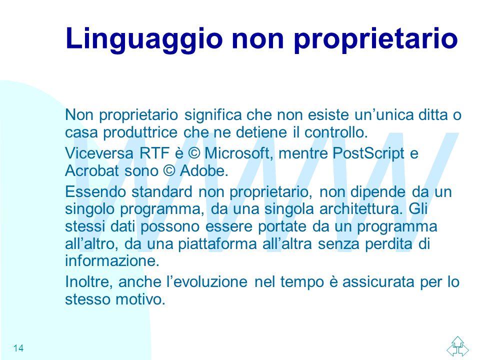 WWW 14 Linguaggio non proprietario Non proprietario significa che non esiste un'unica ditta o casa produttrice che ne detiene il controllo.
