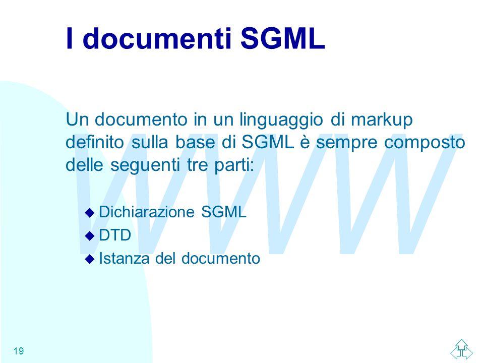 WWW 19 I documenti SGML Un documento in un linguaggio di markup definito sulla base di SGML è sempre composto delle seguenti tre parti: u Dichiarazione SGML u DTD u Istanza del documento