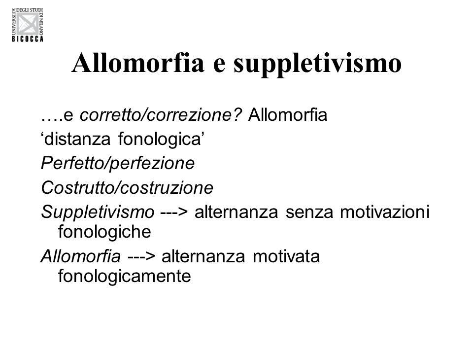Allomorfia e suppletivismo ….e corretto/correzione.