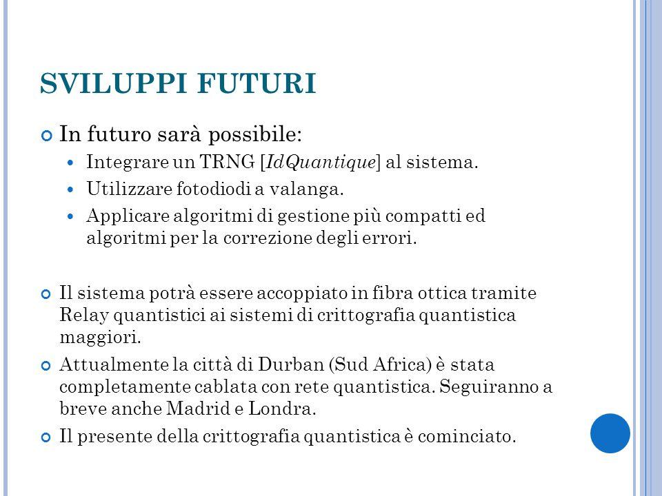 SVILUPPI FUTURI In futuro sarà possibile: Integrare un TRNG [ IdQuantique ] al sistema. Utilizzare fotodiodi a valanga. Applicare algoritmi di gestion