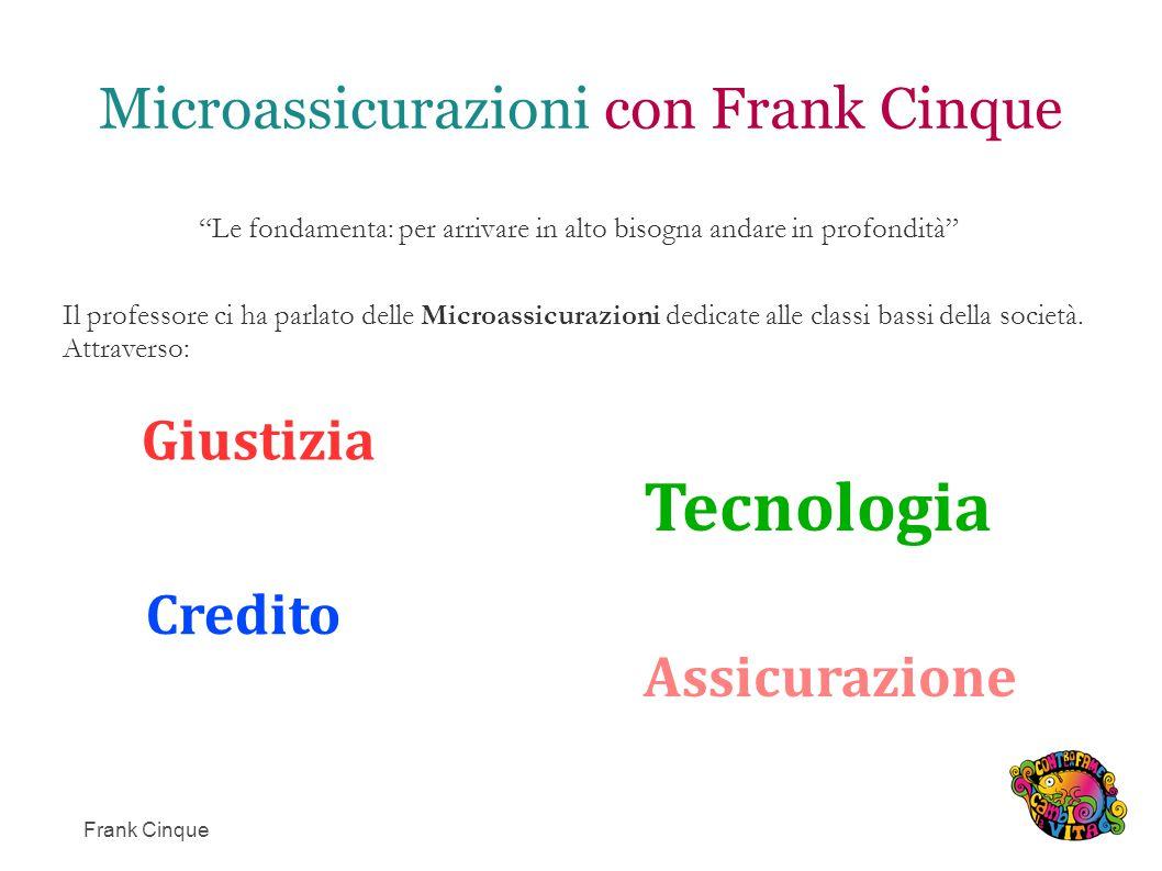 Microassicurazioni con Frank Cinque Le fondamenta: per arrivare in alto bisogna andare in profondità Il professore ci ha parlato delle Microassicurazioni dedicate alle classi bassi della società.