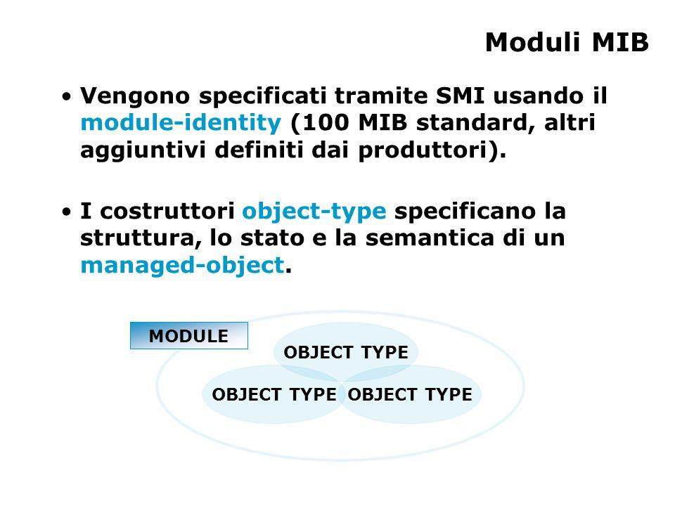 OBJECT TYPE Moduli MIB OBJECT TYPE Vengono specificati tramite SMI usando il module-identity (100 MIB standard, altri aggiuntivi definiti dai produttori).