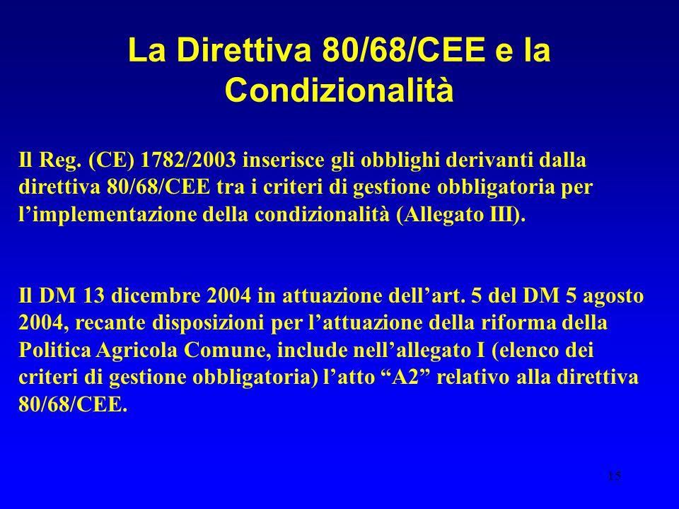 15 La Direttiva 80/68/CEE e la Condizionalità Il Reg. (CE) 1782/2003 inserisce gli obblighi derivanti dalla direttiva 80/68/CEE tra i criteri di gesti