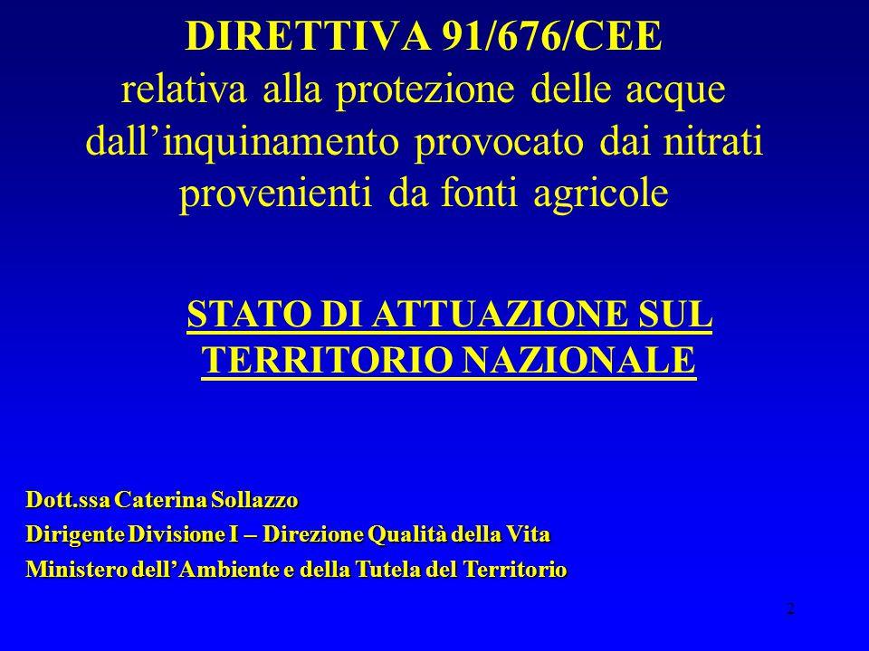 2 DIRETTIVA 91/676/CEE relativa alla protezione delle acque dall'inquinamento provocato dai nitrati provenienti da fonti agricole STATO DI ATTUAZIONE