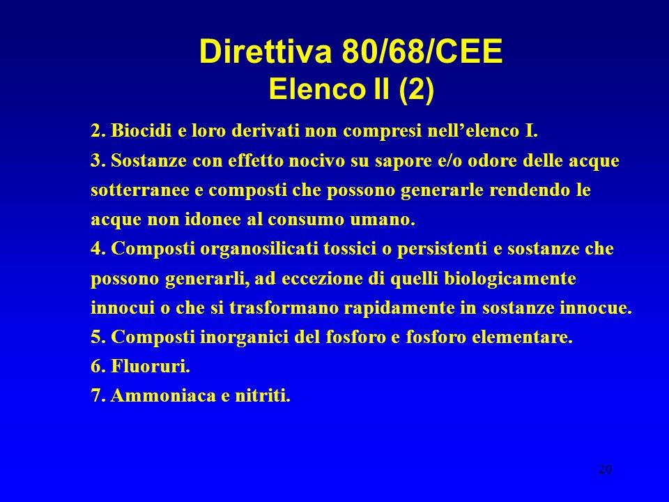 20 Direttiva 80/68/CEE Elenco II (2) 2. Biocidi e loro derivati non compresi nell'elenco I. 3. Sostanze con effetto nocivo su sapore e/o odore delle a