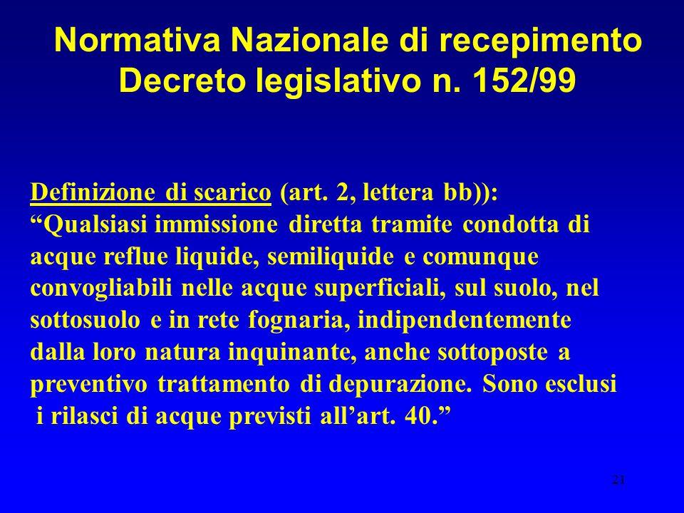 """21 Normativa Nazionale di recepimento Decreto legislativo n. 152/99 Definizione di scarico (art. 2, lettera bb)): """"Qualsiasi immissione diretta tramit"""