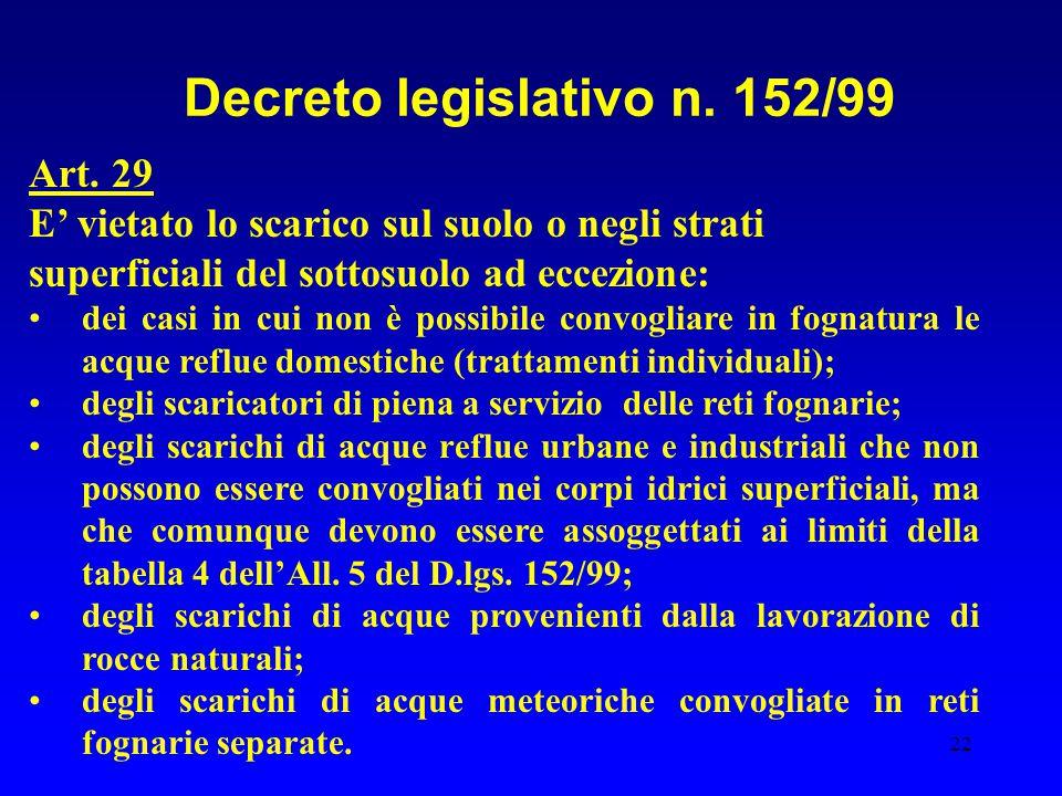 22 Decreto legislativo n. 152/99 Art. 29 E' vietato lo scarico sul suolo o negli strati superficiali del sottosuolo ad eccezione: dei casi in cui non