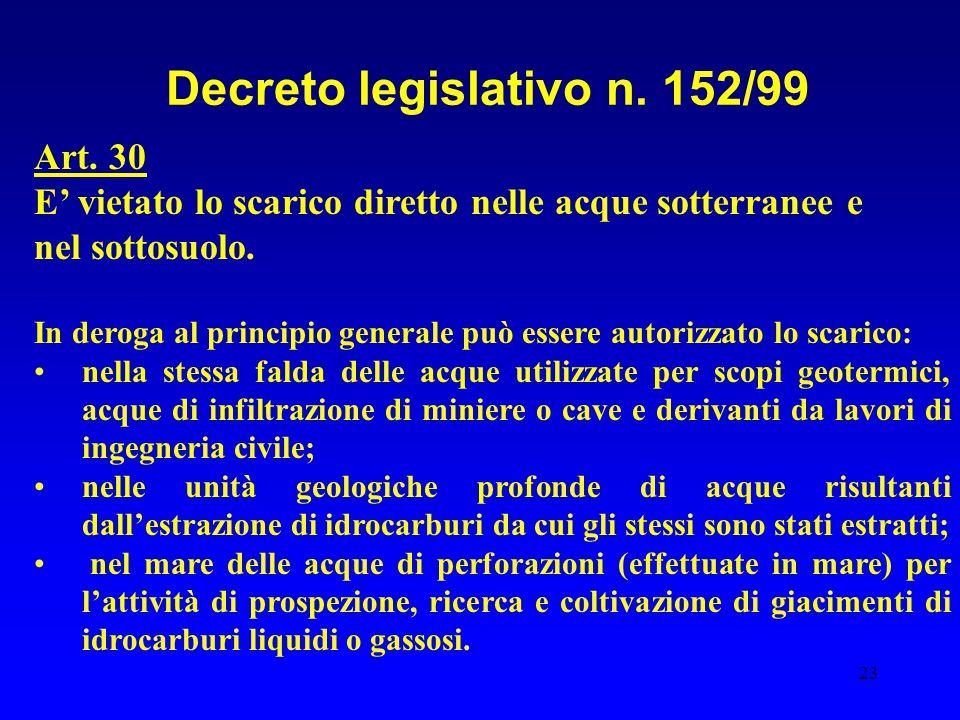23 Decreto legislativo n. 152/99 Art. 30 E' vietato lo scarico diretto nelle acque sotterranee e nel sottosuolo. In deroga al principio generale può e