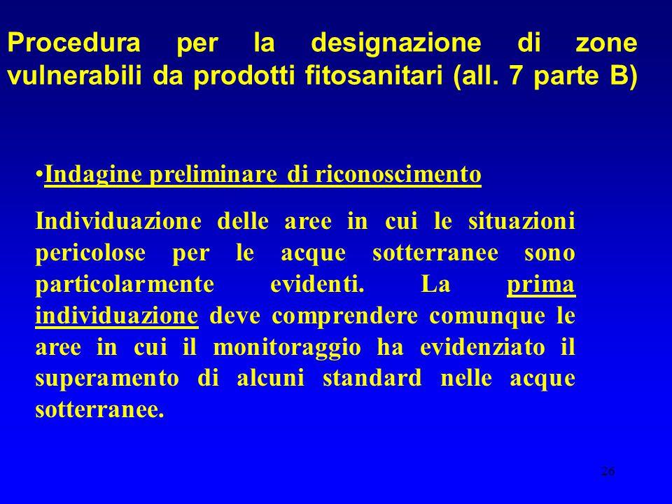 26 Procedura per la designazione di zone vulnerabili da prodotti fitosanitari (all. 7 parte B) Indagine preliminare di riconoscimento Individuazione d