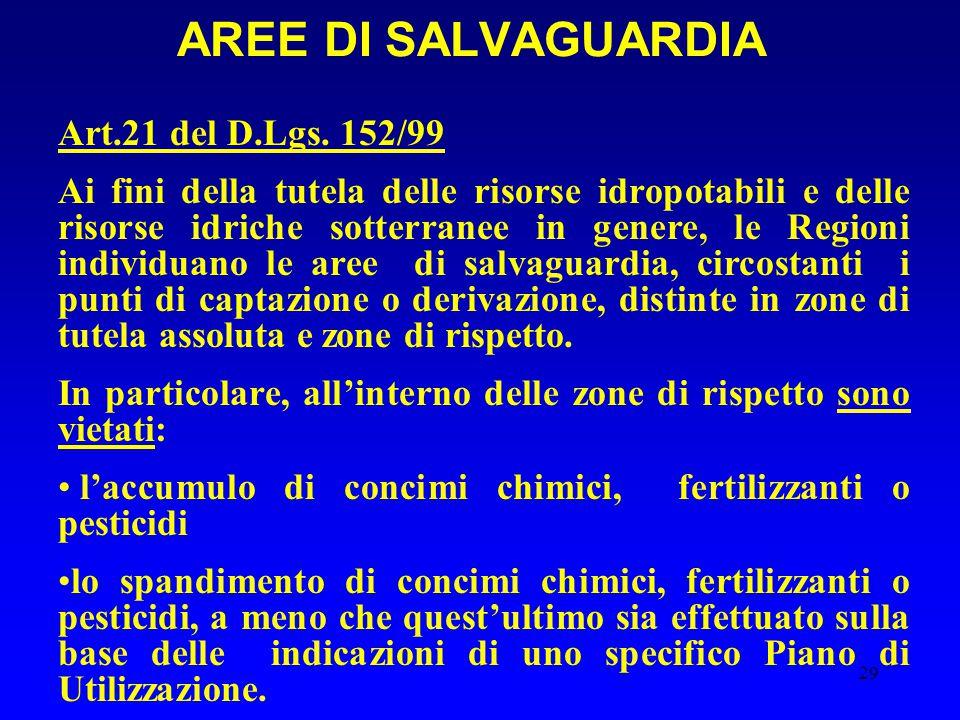29 Art.21 del D.Lgs. 152/99 Ai fini della tutela delle risorse idropotabili e delle risorse idriche sotterranee in genere, le Regioni individuano le a