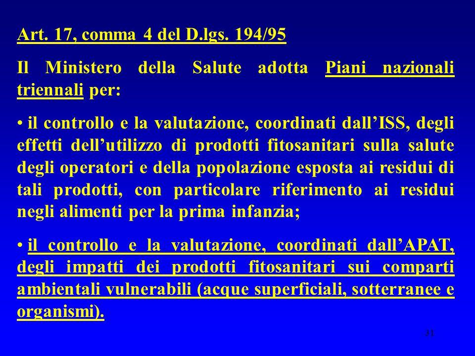 31 Art. 17, comma 4 del D.lgs. 194/95 Il Ministero della Salute adotta Piani nazionali triennali per: il controllo e la valutazione, coordinati dall'I