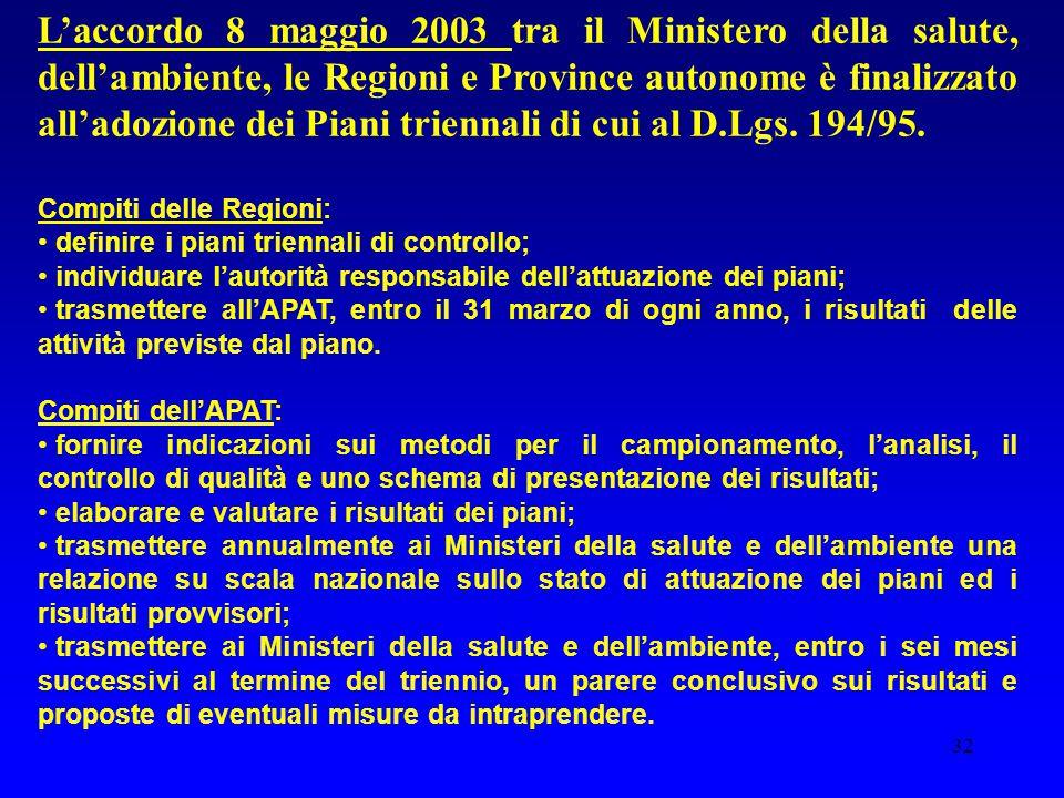 32 L'accordo 8 maggio 2003 tra il Ministero della salute, dell'ambiente, le Regioni e Province autonome è finalizzato all'adozione dei Piani triennali di cui al D.Lgs.