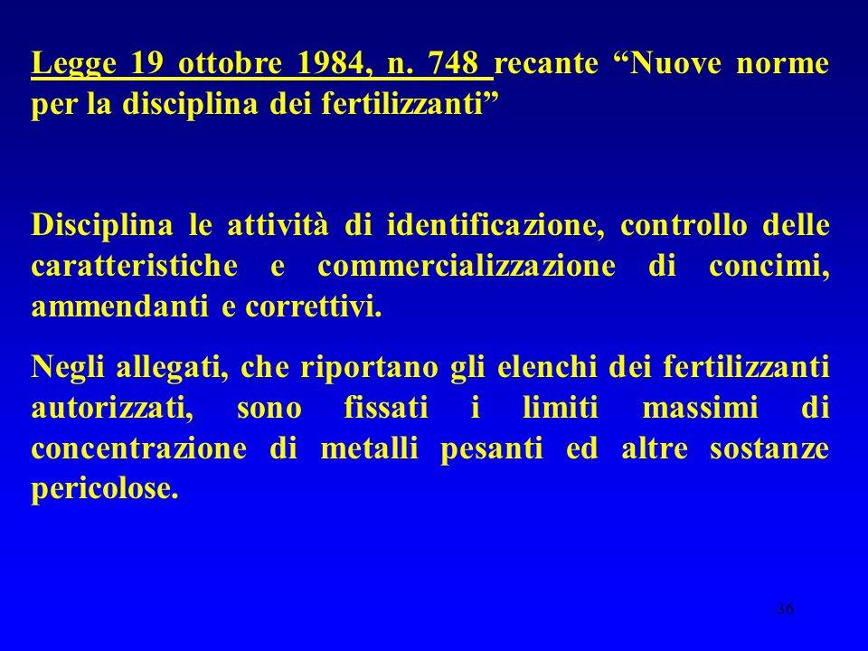 """36 Legge 19 ottobre 1984, n. 748 recante """"Nuove norme per la disciplina dei fertilizzanti"""" Disciplina le attività di identificazione, controllo delle"""
