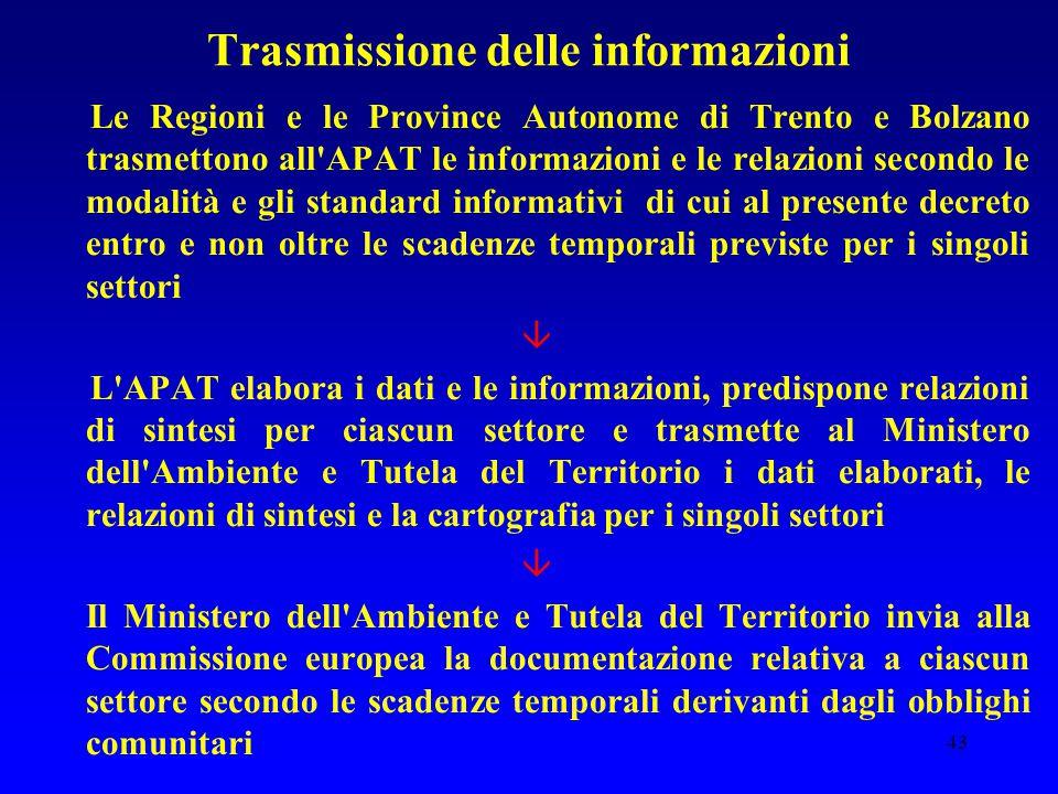 43 Trasmissione delle informazioni Le Regioni e le Province Autonome di Trento e Bolzano trasmettono all'APAT le informazioni e le relazioni secondo l
