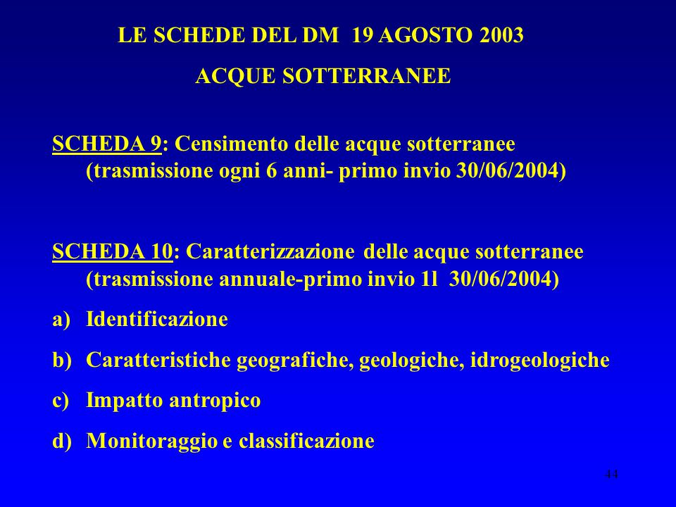 44 LE SCHEDE DEL DM 19 AGOSTO 2003 ACQUE SOTTERRANEE SCHEDA 9: Censimento delle acque sotterranee (trasmissione ogni 6 anni- primo invio 30/06/2004) SCHEDA 10: Caratterizzazione delle acque sotterranee (trasmissione annuale-primo invio 1l 30/06/2004) a)Identificazione b)Caratteristiche geografiche, geologiche, idrogeologiche c)Impatto antropico d)Monitoraggio e classificazione