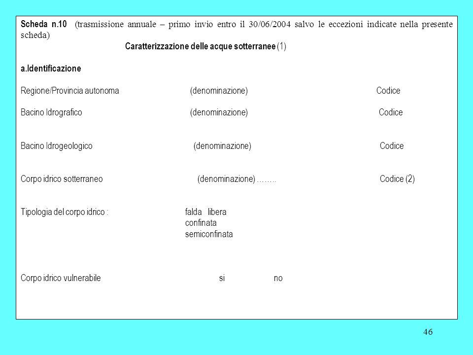 46 Scheda n.10 (trasmissione annuale – primo invio entro il 30/06/2004 salvo le eccezioni indicate nella presente scheda) Caratterizzazione delle acqu