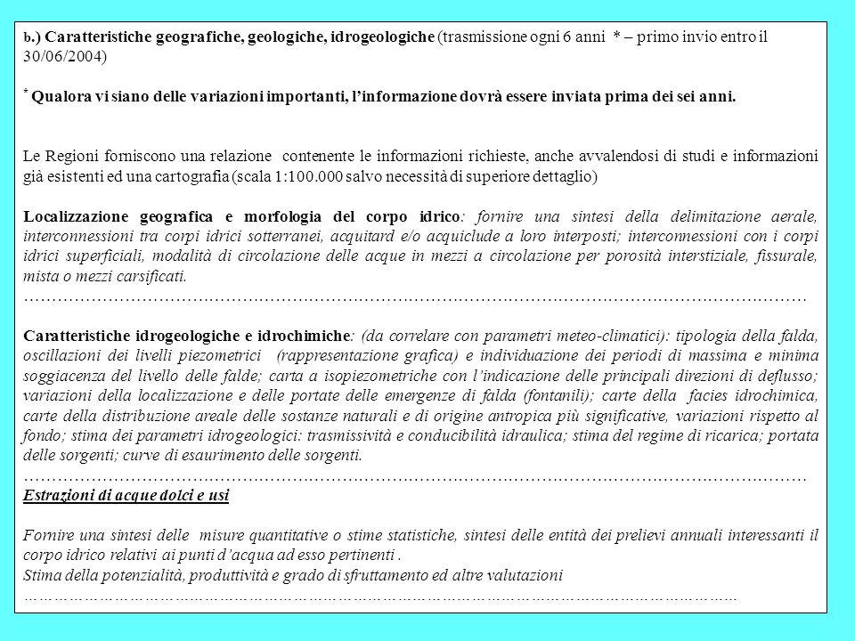 48 b.) Caratteristiche geografiche, geologiche, idrogeologiche (trasmissione ogni 6 anni * – primo invio entro il 30/06/2004) * Qualora vi siano delle