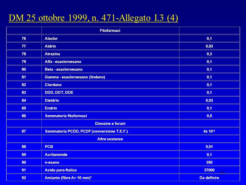 56 DM 25 ottobre 1999, n.