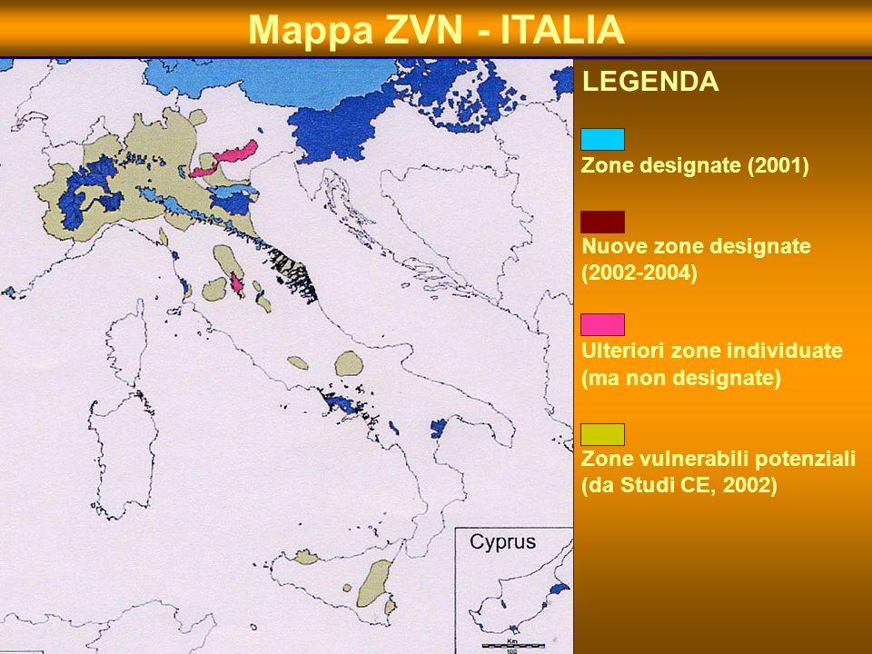 8 Mappa ZVN - ITALIA LEGENDA Zone designate (2001) Nuove zone designate (2002-2004) Ulteriori zone individuate (ma non designate ) Zone vulnerabili po