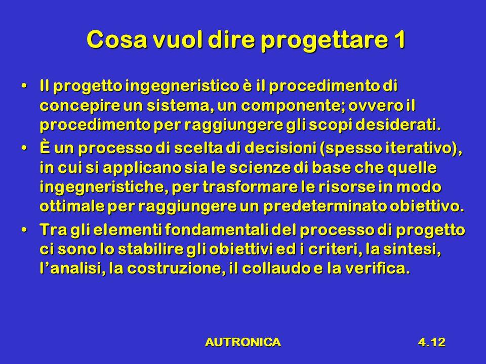 AUTRONICA4.12 Cosa vuol dire progettare 1 Il progetto ingegneristico è il procedimento di concepire un sistema, un componente; ovvero il procedimento per raggiungere gli scopi desiderati.Il progetto ingegneristico è il procedimento di concepire un sistema, un componente; ovvero il procedimento per raggiungere gli scopi desiderati.