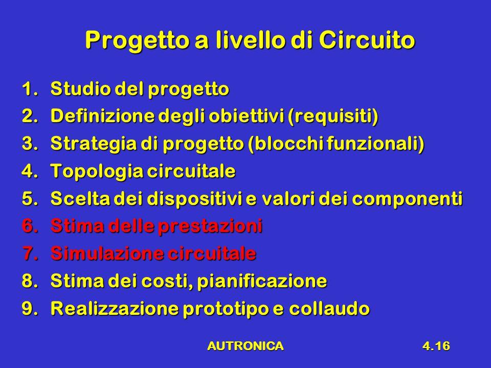 AUTRONICA4.16 Progetto a livello di Circuito 1.Studio del progetto 2.Definizione degli obiettivi (requisiti) 3.Strategia di progetto (blocchi funziona