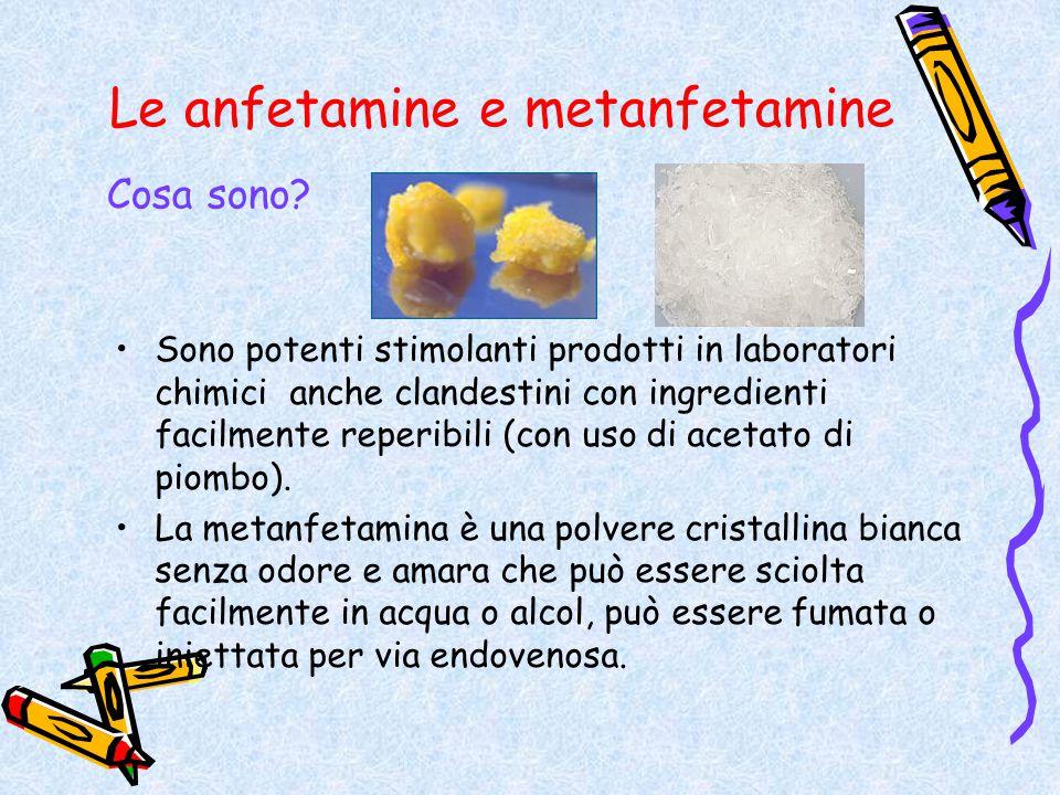 Le anfetamine e metanfetamine Sono potenti stimolanti prodotti in laboratori chimici anche clandestini con ingredienti facilmente reperibili (con uso
