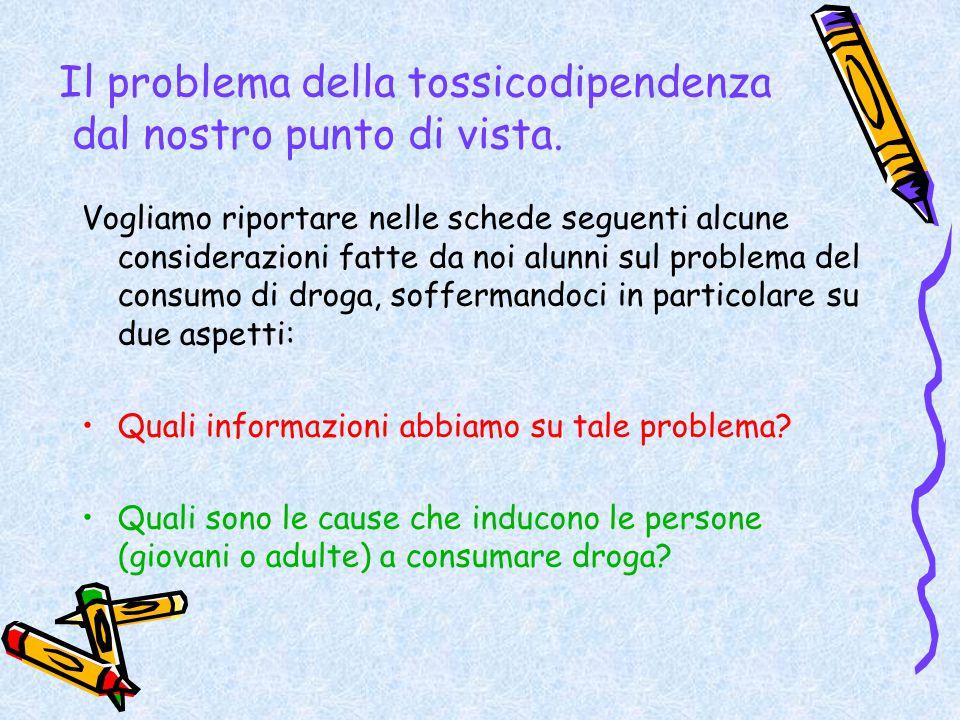 Il problema della tossicodipendenza dal nostro punto di vista. Vogliamo riportare nelle schede seguenti alcune considerazioni fatte da noi alunni sul