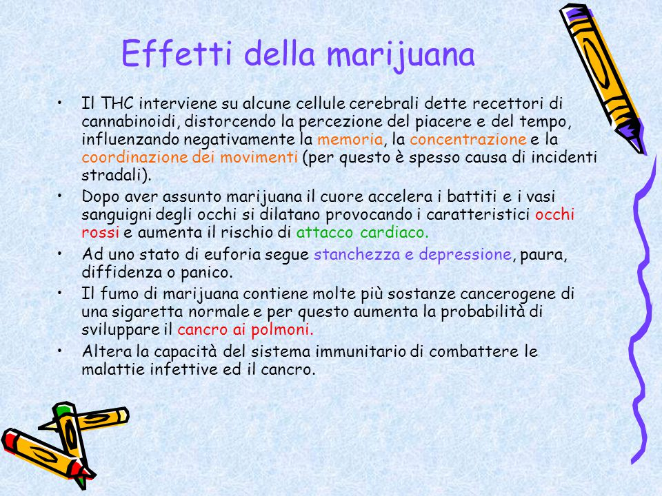 Effetti della marijuana Il THC interviene su alcune cellule cerebrali dette recettori di cannabinoidi, distorcendo la percezione del piacere e del tem