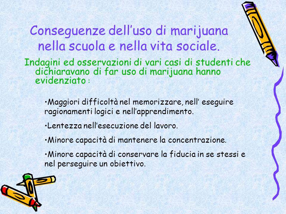 Conseguenze dell'uso di marijuana nella scuola e nella vita sociale. Indagini ed osservazioni di vari casi di studenti che dichiaravano di far uso di