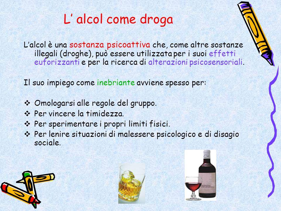 L' alcol come droga L'alcol è una sostanza psicoattiva che, come altre sostanze illegali (droghe), può essere utilizzata per i suoi effetti euforizzan