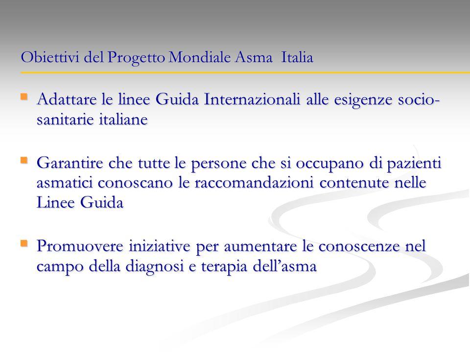  Adattare le linee Guida Internazionali alle esigenze socio- sanitarie italiane  Garantire che tutte le persone che si occupano di pazienti asmatici