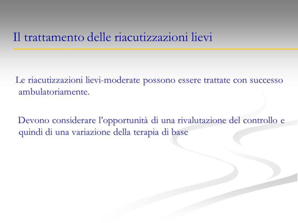 Il trattamento delle riacutizzazioni lievi Le riacutizzazioni lievi-moderate possono essere trattate con successo ambulatoriamente. Le riacutizzazioni