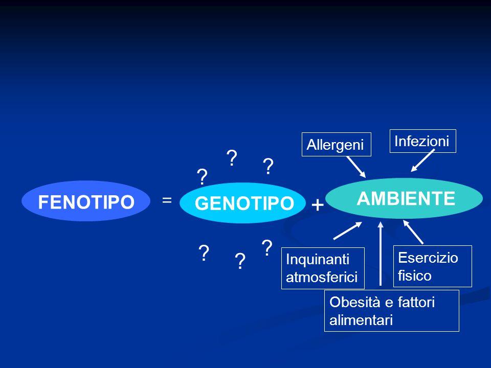 GENOTIPO AMBIENTE FENOTIPO + ? ? ? ? ? ? Inquinanti atmosferici Esercizio fisico Infezioni Allergeni Obesità e fattori alimentari =