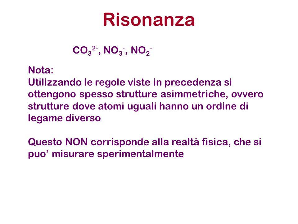 Risonanza CO 3 2-, NO 3 -, NO 2 - Nota: Utilizzando le regole viste in precedenza si ottengono spesso strutture asimmetriche, ovvero strutture dove at