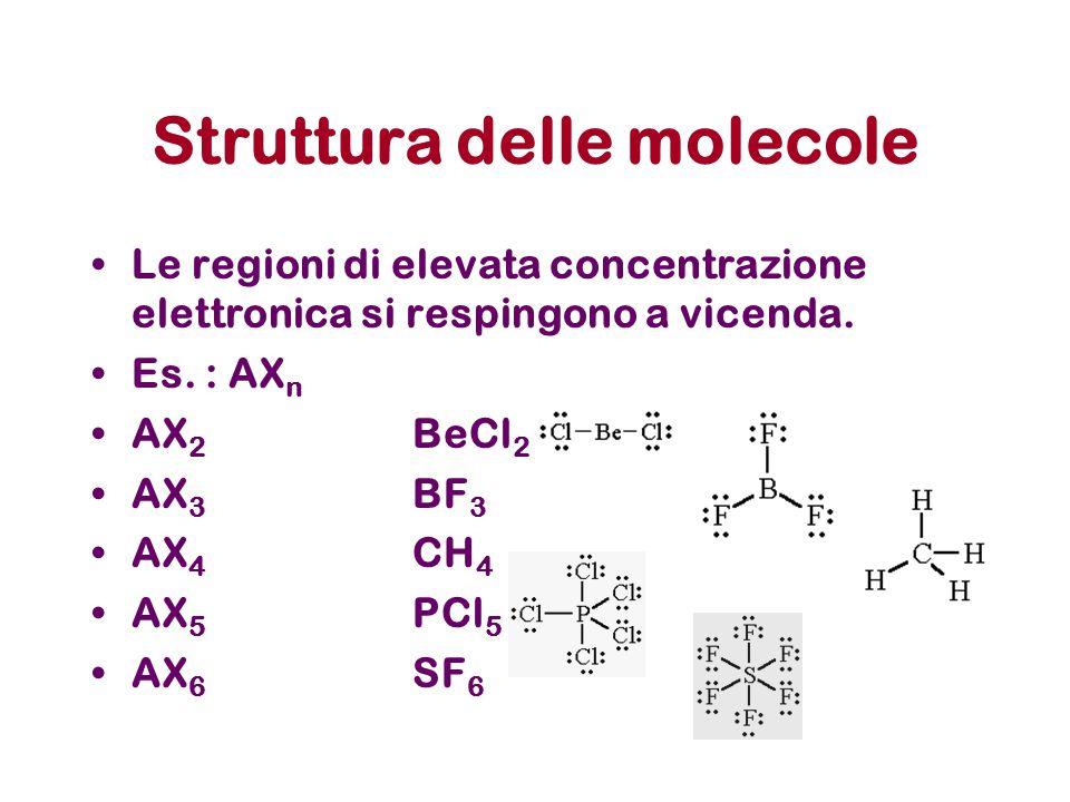 Struttura delle molecole Le regioni di elevata concentrazione elettronica si respingono a vicenda. Es. : AX n AX 2 BeCl 2 AX 3 BF 3 AX 4 CH 4 AX 5 PCl