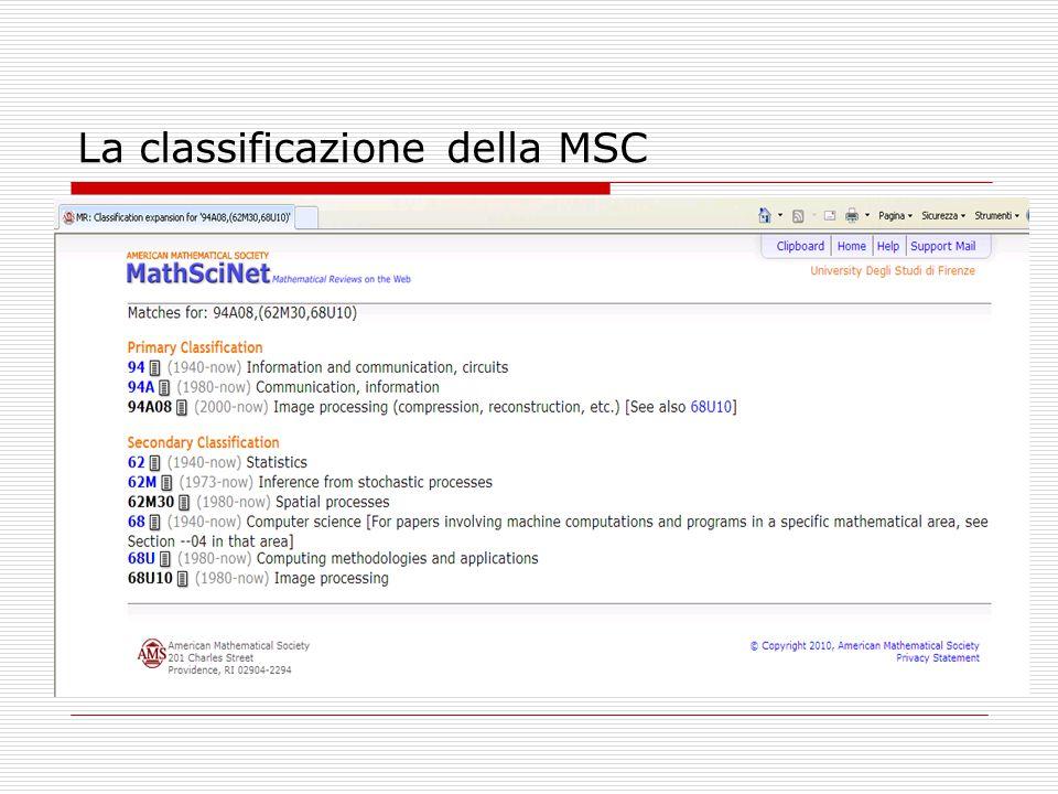 La classificazione della MSC