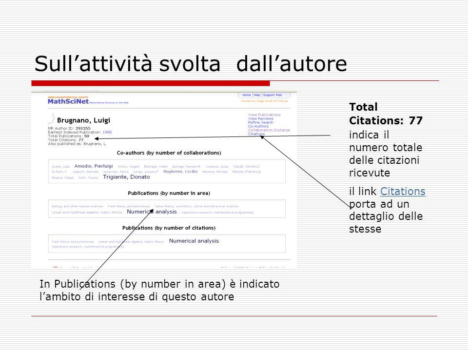 Sull'attività svolta dall'autore Total Citations: 77 indica il numero totale delle citazioni ricevute il link Citations porta ad un dettaglio delle st