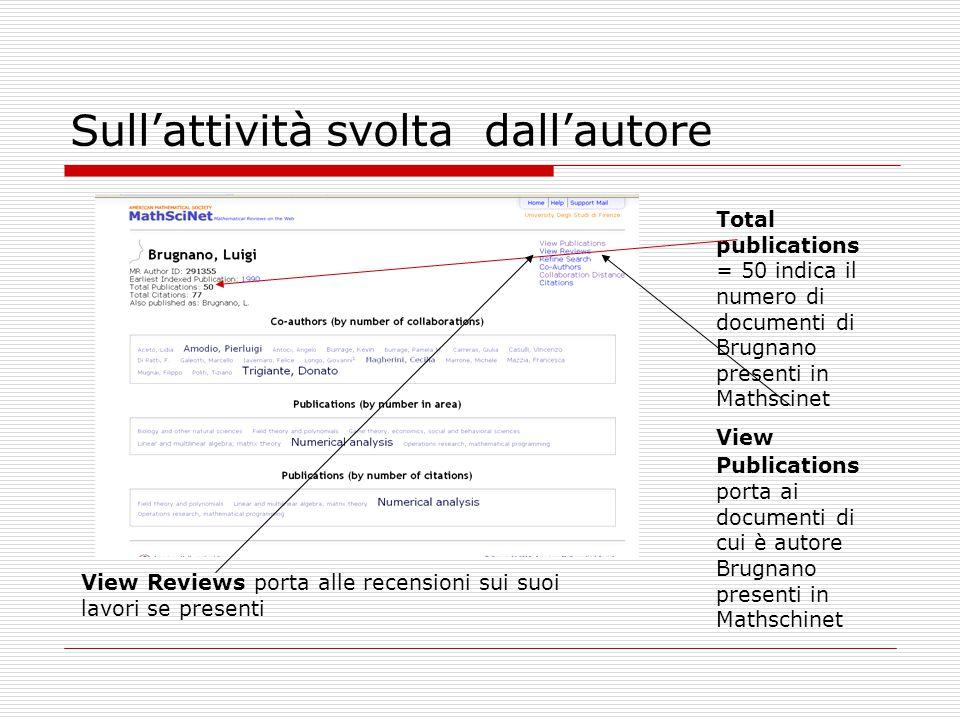 Sull'attività svolta dall'autore Total publications = 50 indica il numero di documenti di Brugnano presenti in Mathscinet View Publications porta ai d