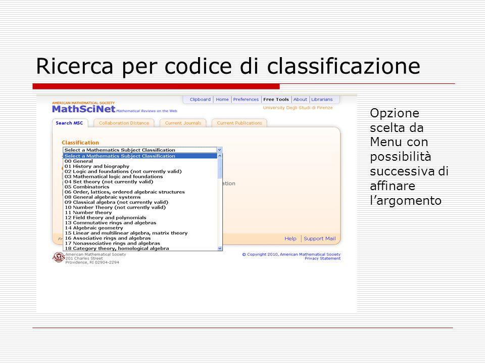 Ricerca per codice di classificazione Opzione scelta da Menu con possibilità successiva di affinare l'argomento