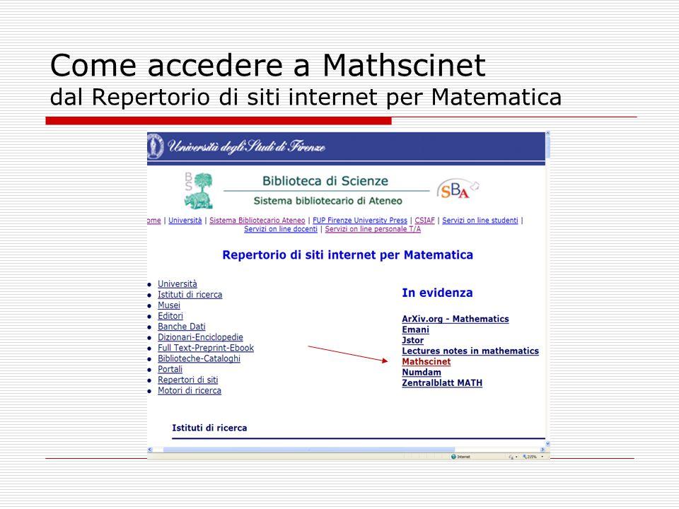 Come accedere a Mathscinet dal Repertorio di siti internet per Matematica